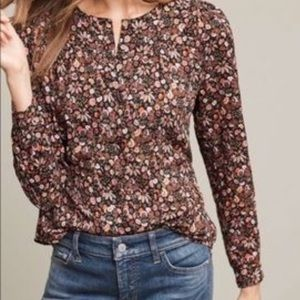 Anthropologie Maeve Floral Popover Button Down Top